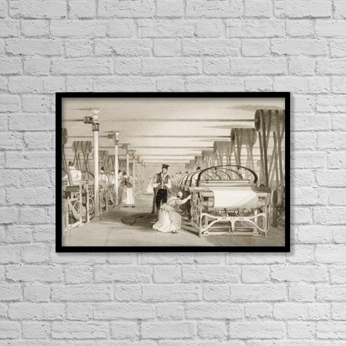 "Printscapes Wall Art: 18"" x 12"" Canvas Print With Black Frame - Power Loom Weaving Drawn By T by Ken Welsh"