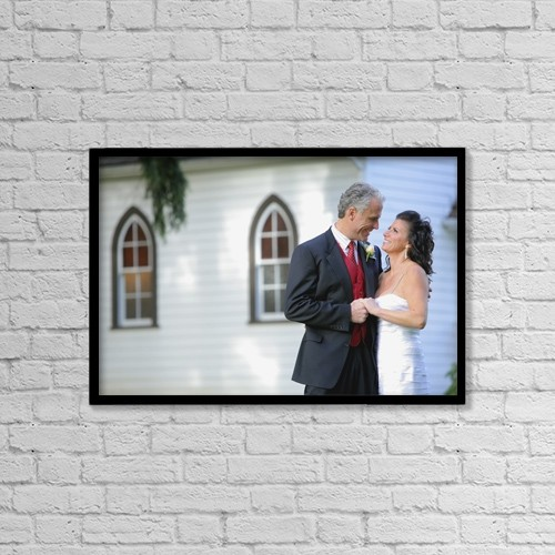 """Printscapes Wall Art: 18"""" x 12"""" Canvas Print With Black Frame - Middle Aged Couple Getting Married by Colleen Cahill"""