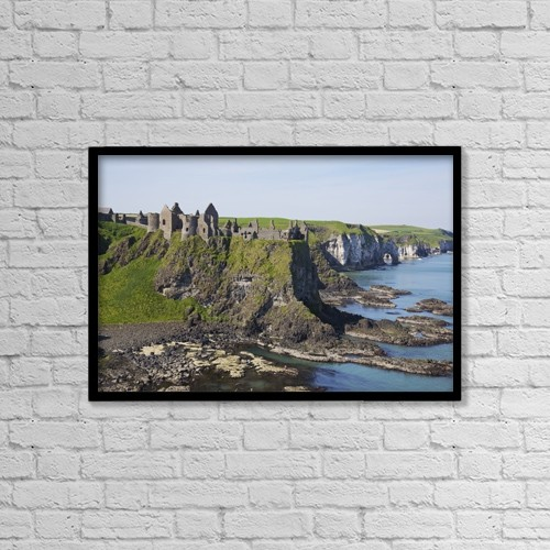 "Printscapes Wall Art: 18"" x 12"" Canvas Print With Black Frame - Ruins On Coastal Cliff by Patrick Swan"