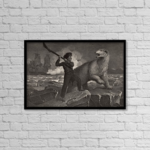 """Printscapes Wall Art: 18"""" x 12"""" Canvas Print With Black Frame - Nelson's Encounter With A Bear by Ken Welsh"""