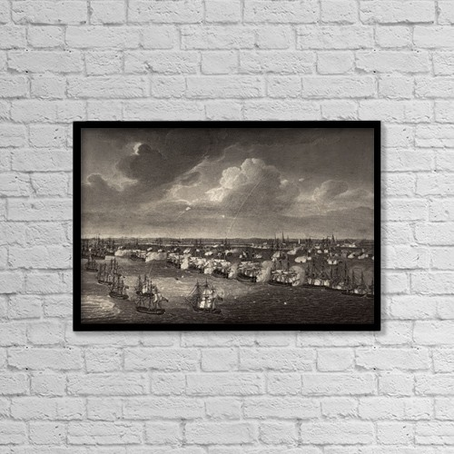 "Printscapes Wall Art: 18"" x 12"" Canvas Print With Black Frame - The Battle Of Copenhagen, April 2 1801 by Ken Welsh"