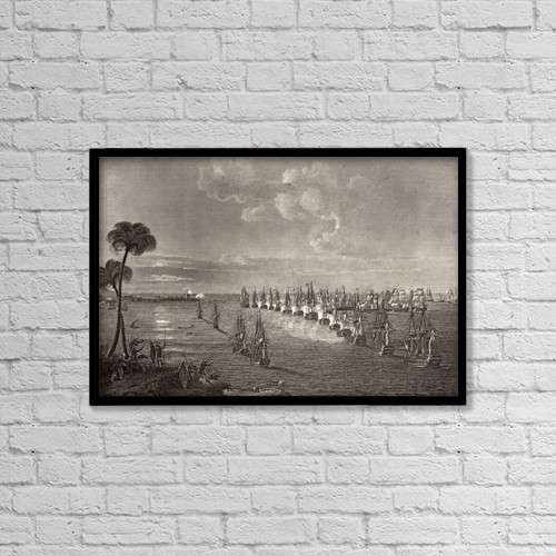 "Printscapes Wall Art: 18"" x 12"" Canvas Print With Black Frame - The Battle Of The Nile, August 1 1798 by Ken Welsh"
