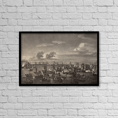 """Printscapes Wall Art: 18"""" x 12"""" Canvas Print With Black Frame - The Battle Of Trafalgar, October 21, 1805 by Ken Welsh"""