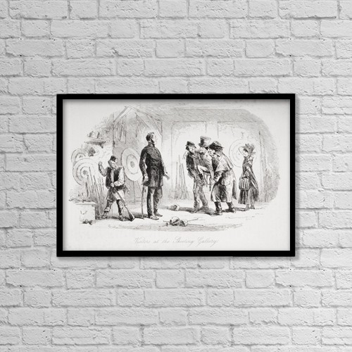 "Printscapes Wall Art: 18"" x 12"" Canvas Print With Black Frame - Visitors At The Shooting Gallery by Ken Welsh"