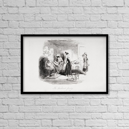 "Printscapes Wall Art: 18"" x 12"" Canvas Print With Black Frame - The Smallweed Family by Ken Welsh"