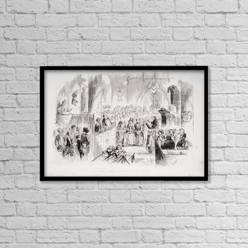 "Printscapes Wall Art: 18"" x 12"" Canvas Print With Black Frame - The Little Church In The Park by Ken Welsh"