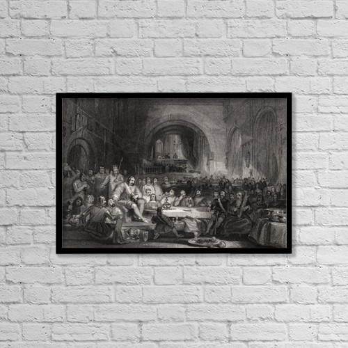 "Printscapes Wall Art: 18"" x 12"" Canvas Print With Black Frame - Prince Llewellyn And His Barons Engraved By W by Ken Welsh"
