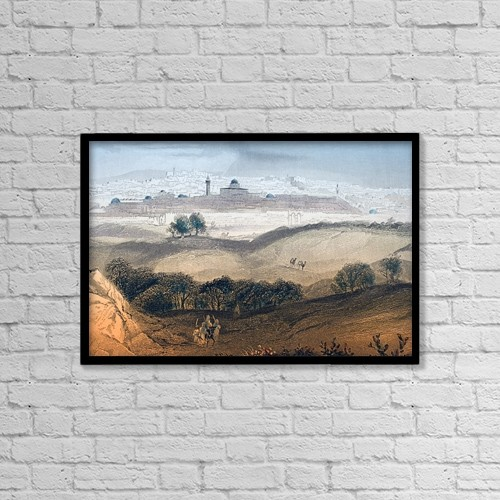 """Printscapes Wall Art: 18"""" x 12"""" Canvas Print With Black Frame - Jerusalem Engraved By A by Ken Welsh"""