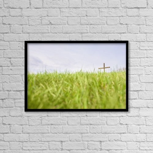 """Printscapes Wall Art: 18"""" x 12"""" Canvas Print With Black Frame - The Cross In A Field by Chris and Kate Knorr"""