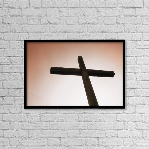 "Printscapes Wall Art: 18"" x 12"" Canvas Print With Black Frame - Silhouette Of The Cross by Chris and Kate Knorr"