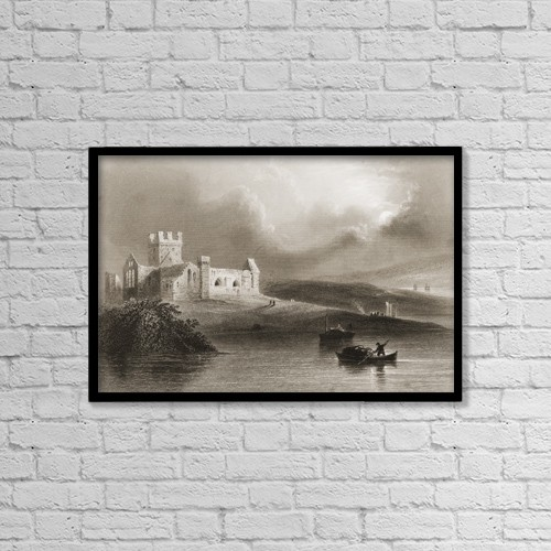 """Printscapes Wall Art: 18"""" x 12"""" Canvas Print With Black Frame - Dunbrody Abbey, Wexford, Ireland by Ken Welsh"""