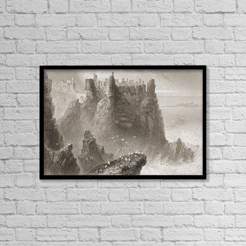 "Printscapes Wall Art: 18"" x 12"" Canvas Print With Black Frame - Dunluce Castle, County Antrim, Ireland by Ken Welsh"