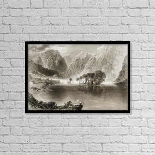 "Printscapes Wall Art: 18"" x 12"" Canvas Print With Black Frame - Gougane Barra Lake, County Cork, Ireland by Ken Welsh"