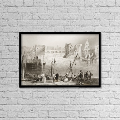 """Printscapes Wall Art: 18"""" x 12"""" Canvas Print With Black Frame - Galway From The Claddagh, Ireland by Ken Welsh"""