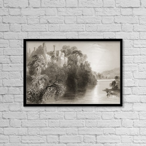 "Printscapes Wall Art: 18"" x 12"" Canvas Print With Black Frame - Lismore Castle, County Waterford, Ireland by Ken Welsh"