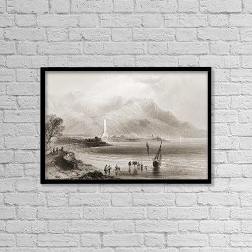 "Printscapes Wall Art: 18"" x 12"" Canvas Print With Black Frame - Monument Of General Rofs, Ross Trevor, Ireland by Ken Welsh"