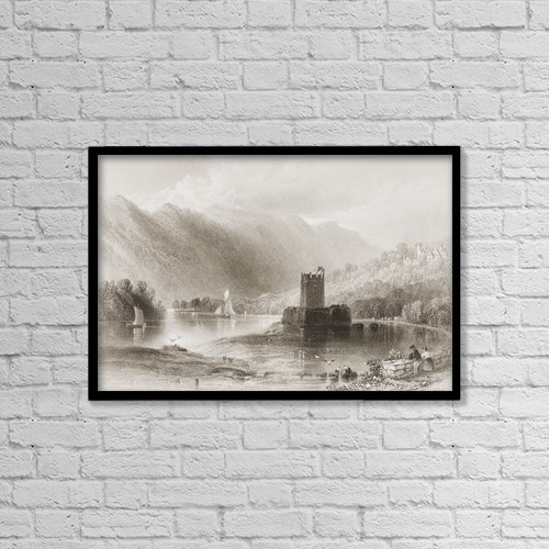 "Printscapes Wall Art: 18"" x 12"" Canvas Print With Black Frame - Narrow Water Castle, Carlingford Lough, Co by Ken Welsh"