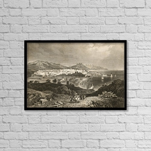 """Printscapes Wall Art: 18"""" x 12"""" Canvas Print With Black Frame - Barcelona, Spain In Early 19Th Century by Ken Welsh"""