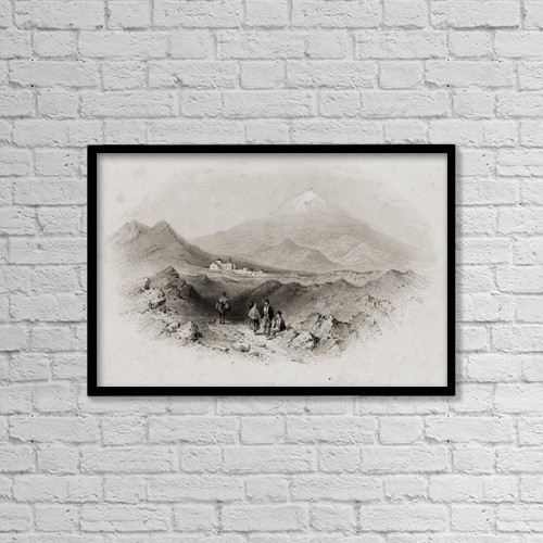 """Printscapes Wall Art: 18"""" x 12"""" Canvas Print With Black Frame - Italy Nicolosi And Mount Etna by Ken Welsh"""