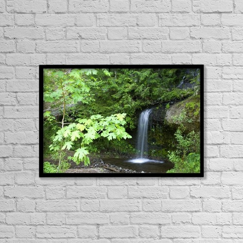 """Printscapes Wall Art: 18"""" x 12"""" Canvas Print With Black Frame - Waterfall In The Forest by Craig Tuttle"""