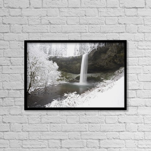 "Printscapes Wall Art: 18"" x 12"" Canvas Print With Black Frame - Waterfall In Winter by Craig Tuttle"