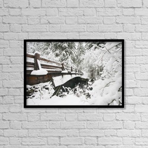 "Printscapes Wall Art: 18"" x 12"" Canvas Print With Black Frame - Snowy Pedestrian Bridge Through Forest by Craig Tuttle"