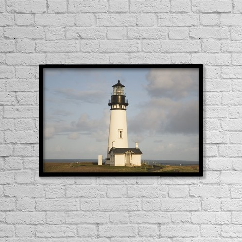 "Printscapes Wall Art: 18"" x 12"" Canvas Print With Black Frame - Exterior Of Lighthouse by Craig Tuttle"