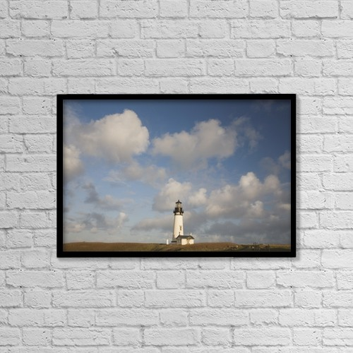 "Printscapes Wall Art: 18"" x 12"" Canvas Print With Black Frame - Lighthouse With Cloudy Backdrop by Craig Tuttle"