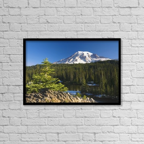 """Printscapes Wall Art: 18"""" x 12"""" Canvas Print With Black Frame - Snow-Capped Mountain; Washington,Usa by Craig Tuttle"""