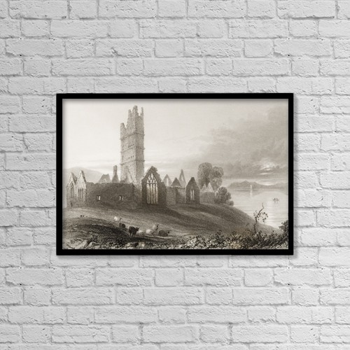 "Printscapes Wall Art: 18"" x 12"" Canvas Print With Black Frame - Abbey Of Moyne, Killala, County Mayo, Ireland by Ken Welsh"
