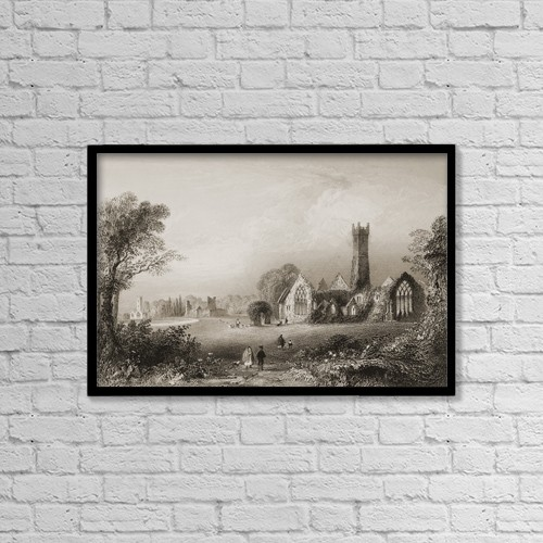 "Printscapes Wall Art: 18"" x 12"" Canvas Print With Black Frame - Augustinian Abbey, Adare, Ireland by Ken Welsh"