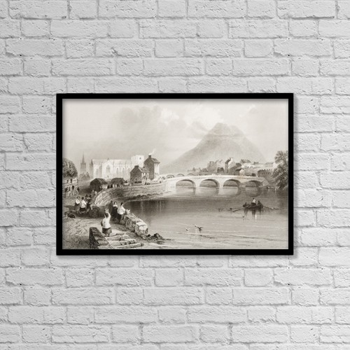 """Printscapes Wall Art: 18"""" x 12"""" Canvas Print With Black Frame - Ballina, County Mayo, Ireland by Ken Welsh"""
