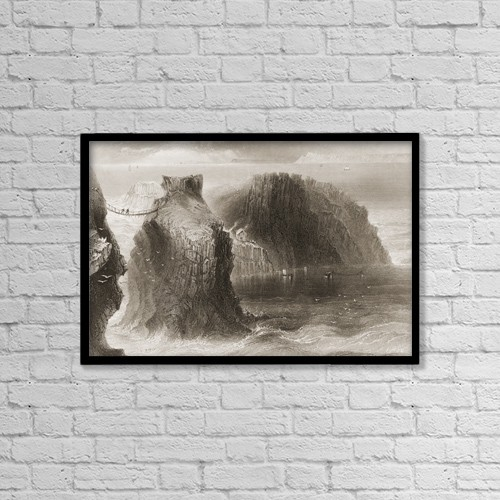 """Printscapes Wall Art: 18"""" x 12"""" Canvas Print With Black Frame - Carrick-A-Rede, County Antrim, Ireland by Ken Welsh"""