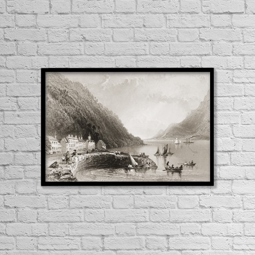 """Printscapes Wall Art: 18"""" x 12"""" Canvas Print With Black Frame - Ross Trevor Pier, Ireland by Ken Welsh"""