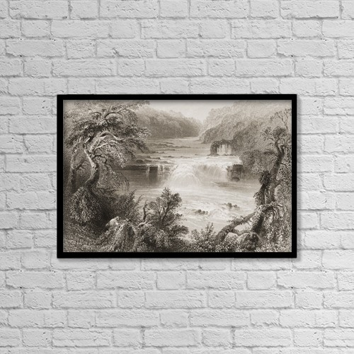"Printscapes Wall Art: 18"" x 12"" Canvas Print With Black Frame - Salmon Leap At Leixlip,County Kildare, Ireland by Ken Welsh"