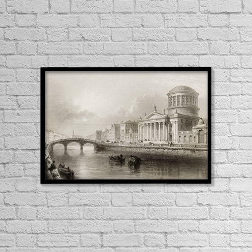 "Printscapes Wall Art: 18"" x 12"" Canvas Print With Black Frame - The Four Courts, Dublin, Ireland by Ken Welsh"