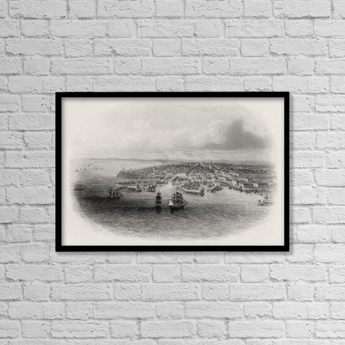 "Printscapes Wall Art: 18"" x 12"" Canvas Print With Black Frame - Odessa Ukraine Russia From A 19Th Century Print by Ken Welsh"