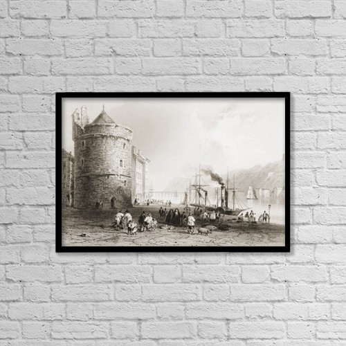 "Printscapes Wall Art: 18"" x 12"" Canvas Print With Black Frame - The Quay, Waterford, Ireland by Ken Welsh"