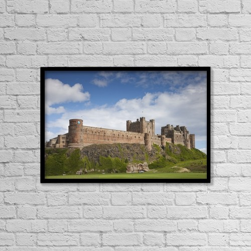 "Printscapes Wall Art: 18"" x 12"" Canvas Print With Black Frame - Bamburgh Castle; Northumberland, England by John Short"