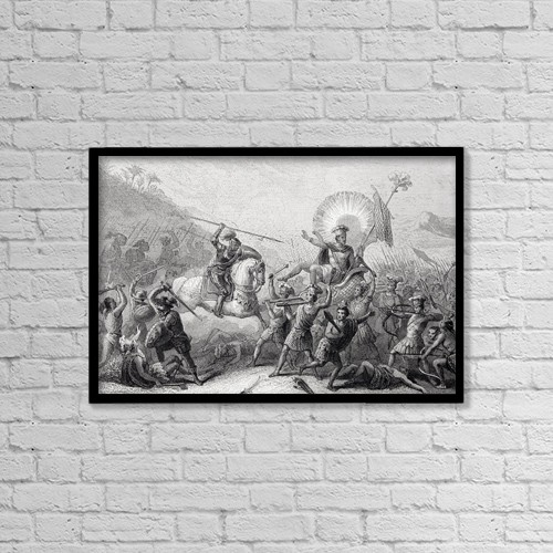 "Printscapes Wall Art: 18"" x 12"" Canvas Print With Black Frame - Battle Of Otumba, Mexico 7 July 1520 by Ken Welsh"