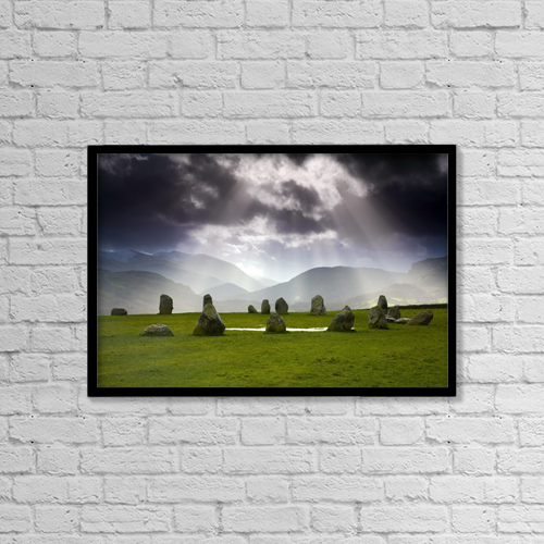 "Printscapes Wall Art: 18"" x 12"" Canvas Print With Black Frame - Castlerigg Stone Circle by John Doornkamp"