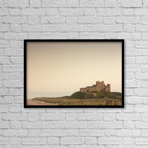 "Printscapes Wall Art: 18"" x 12"" Canvas Print With Black Frame - Bamburgh, Northumberland, England by John Short"
