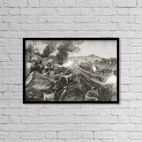 """Printscapes Wall Art: 18"""" x 12"""" Canvas Print With Black Frame - The British Retreating From Lexington by Ken Welsh"""