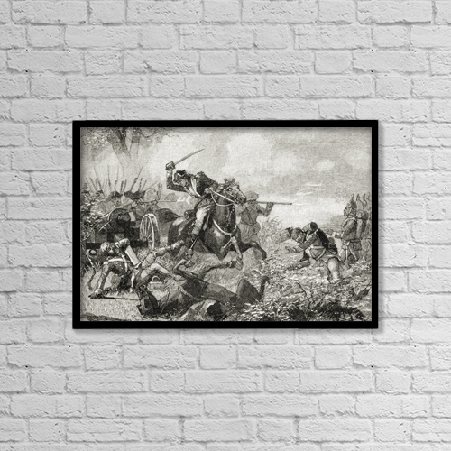 "Printscapes Wall Art: 18"" x 12"" Canvas Print With Black Frame - Arnold At Saratoga, 1777 by Ken Welsh"