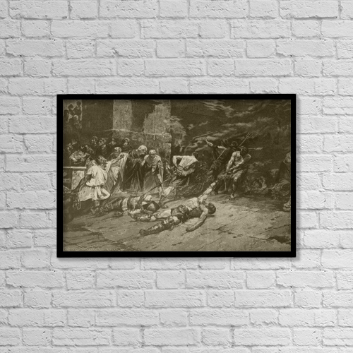 "Printscapes Wall Art: 18"" x 12"" Canvas Print With Black Frame - The Spoliarium by Ken Welsh"