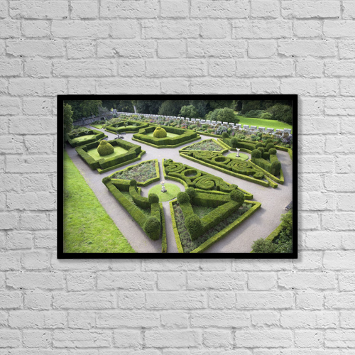 "Printscapes Wall Art: 18"" x 12"" Canvas Print With Black Frame - Manicured Garden, Chillingham Castle by John Short"