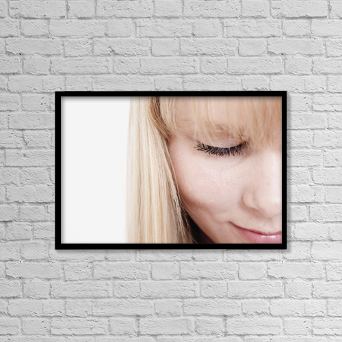 """Printscapes Wall Art: 18"""" x 12"""" Canvas Print With Black Frame - Closeup Of A Woman's Face by John Short"""