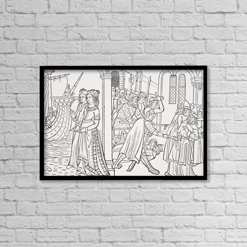 "Printscapes Wall Art: 18"" x 12"" Canvas Print With Black Frame - The Abduction Of Helen by Ken Welsh"