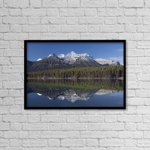 "Printscapes Wall Art: 18"" x 12"" Canvas Print With Black Frame - Lake Hebert, Banff National Park by Michael Interisano"