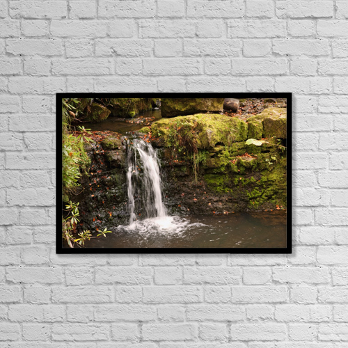 "Printscapes Wall Art: 18"" x 12"" Canvas Print With Black Frame - Small Waterfall, Northumberland, England by John Short"
